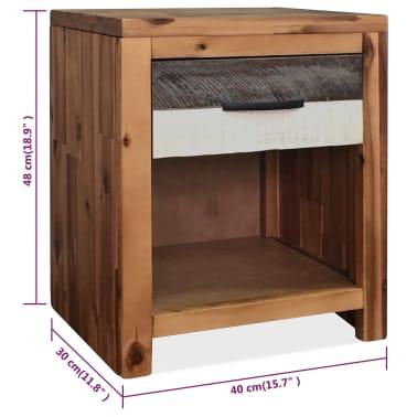 vidaXL Naktinis staliukas, masyvi akacijos mediena, 40x30x48cm[7/7]