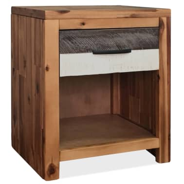 vidaXL Szafki nocne z litego drewna akacjowego, 2 szt., 40x30x48 cm[2/8]