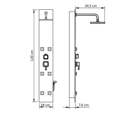 vidaXL Douchepaneel 18x42,1x120 cm glas zwart[9/9]