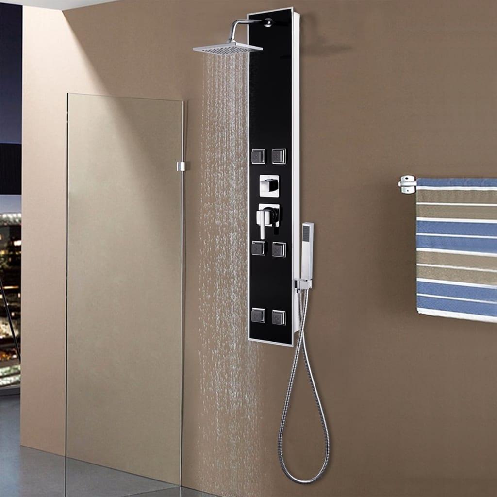 vidaXL Unitate panou de duș, sticlă, 18 x 42,1 x 120 cm, negru vidaxl.ro