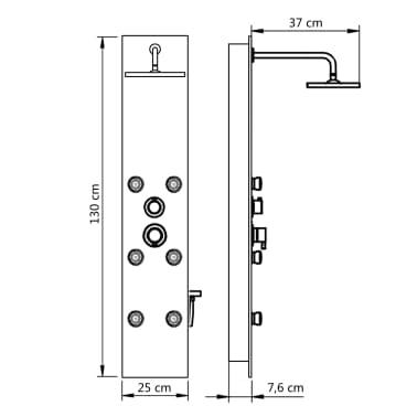vidaXL Duschpanel glas 25x44,6x130 cm vit[9/9]