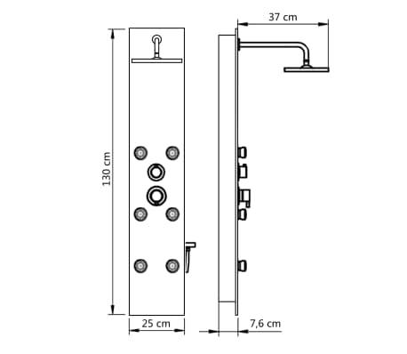 vidaXL Panel ducha de vidrio negro 25x44,6x130 cm[9/9]