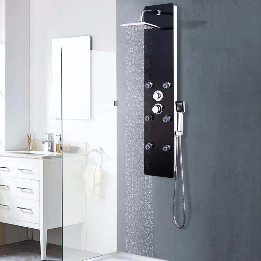 vidaXL Panou de duș din sticlă, 25x44,6x130 cm, negru vidaxl.ro