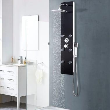 vidaXL Panel ducha de vidrio negro 25x44,6x130 cm[1/9]