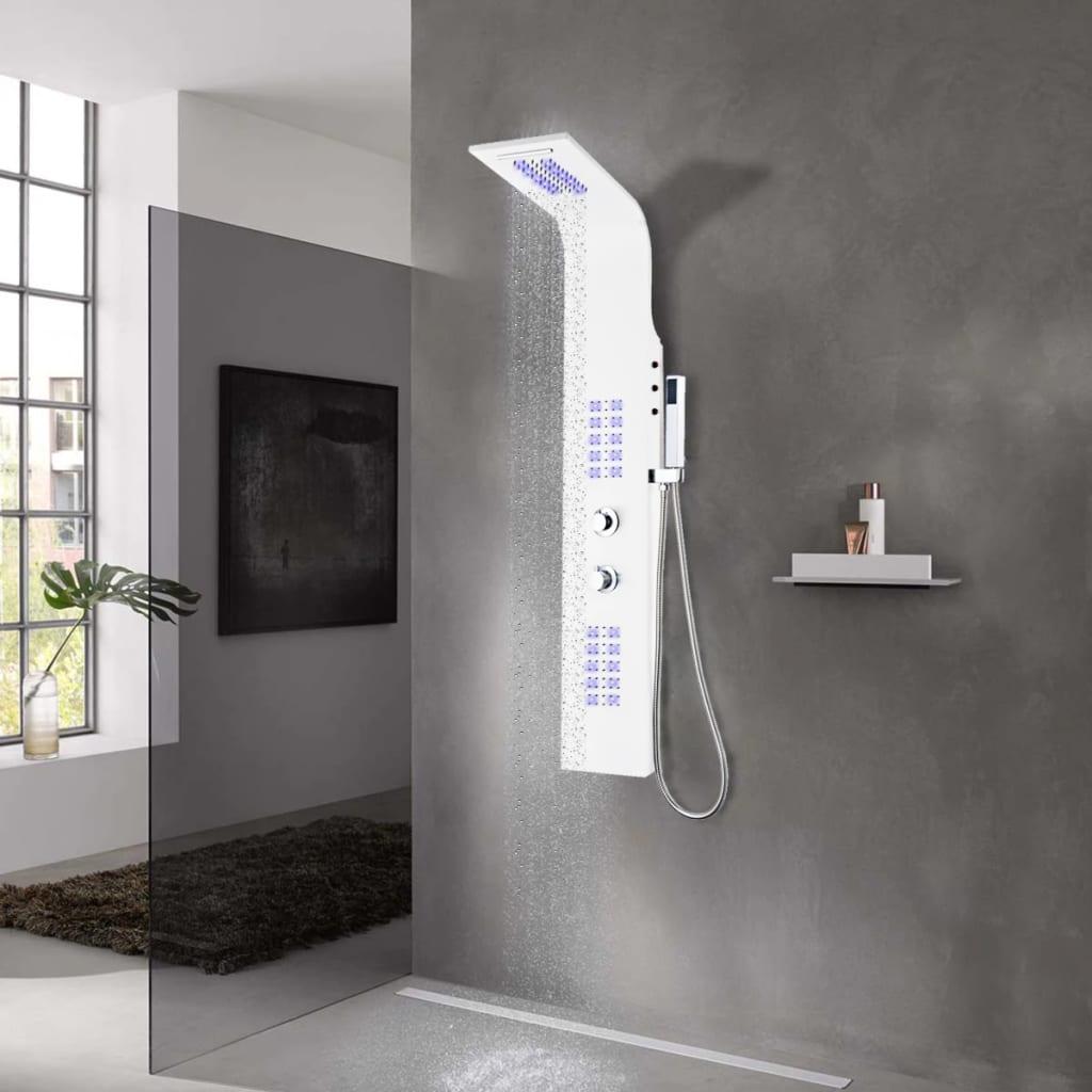 vidaXL Unitate panou de duș, aluminiu, 20 x 44 x 130 cm, alb vidaxl.ro