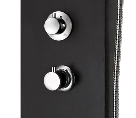 vidaXL Panel de ducha de aluminio 20x44x130 cm negro[9/11]
