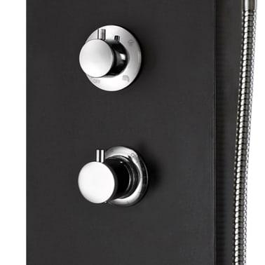 vidaXL Duschpanel aluminium 20x44x130 cm svart[9/11]