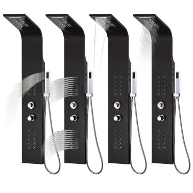 vidaXL Panel de ducha de aluminio 20x44x130 cm negro[10/11]