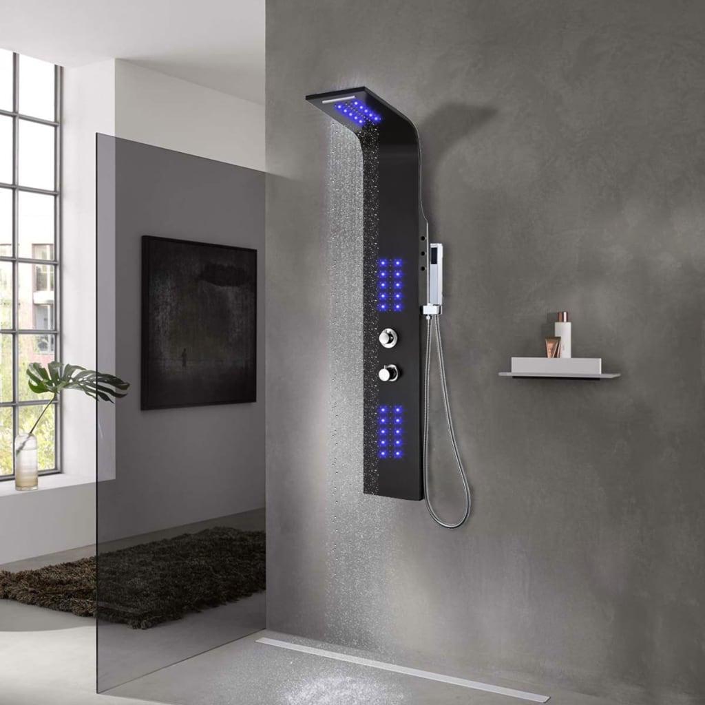 vidaXL Unitate panou de duș, aluminiu, 20 x 44 x 130 cm, negru vidaxl.ro