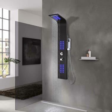 vidaXL Panel de ducha de aluminio 20x44x130 cm negro[1/11]
