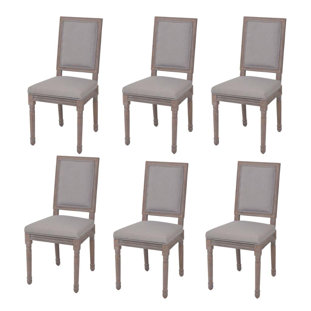 vidaXL Jídelní židle 6 ks lněné, 47 x 58 x 98 cm, světle šedé
