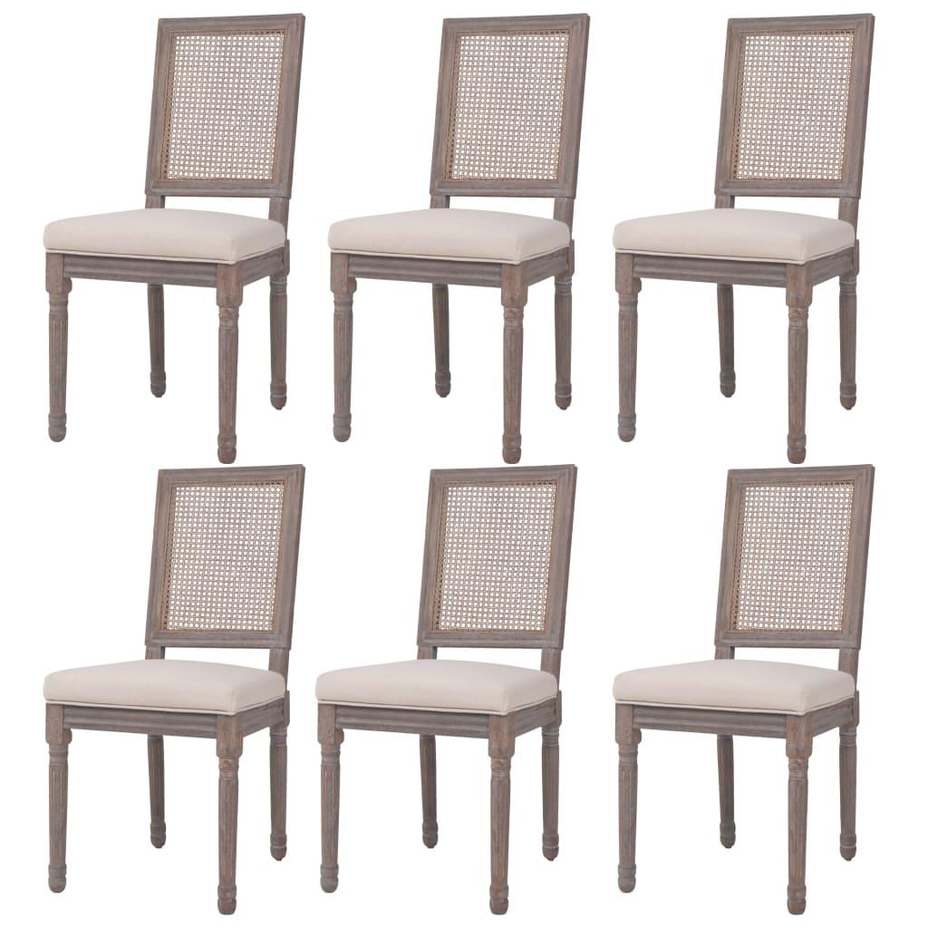 vidaXL Καρέκλες Τραπεζαρίας 6 τεμ. Λευκό Κρεμ 47x58x98 εκ. Λινό/Ρατάν