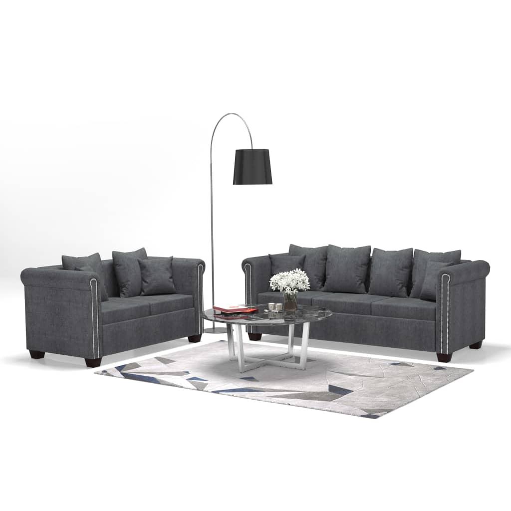 vidaXL Set canapele 2 piese, material textil, gri închis imagine vidaxl.ro