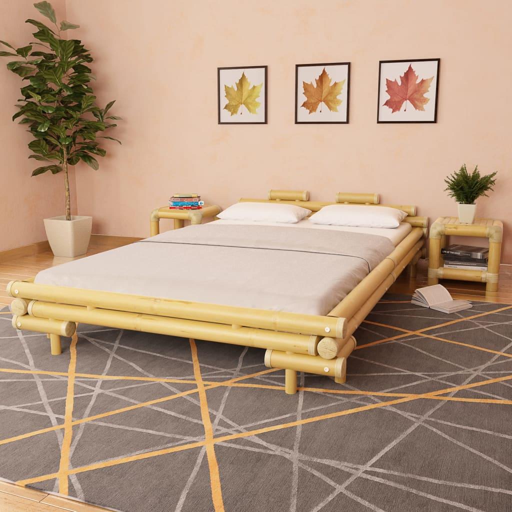vidaXL Bambusová postel s 2 nočními stolky, přírodní, 140 x 200 cm