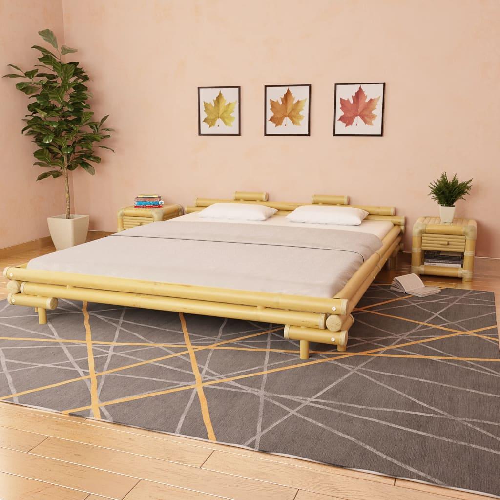 vidaXL Bambusová postel s 2 nočními stolky 180 x 200 cm přírodní