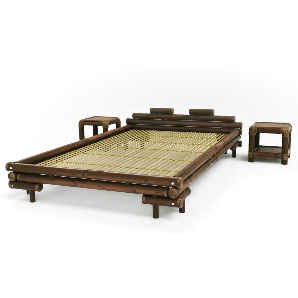 Afbeelding van vidaXL Bed met 2 nachtkastjes bamboe donkerbruin 140x200 cm