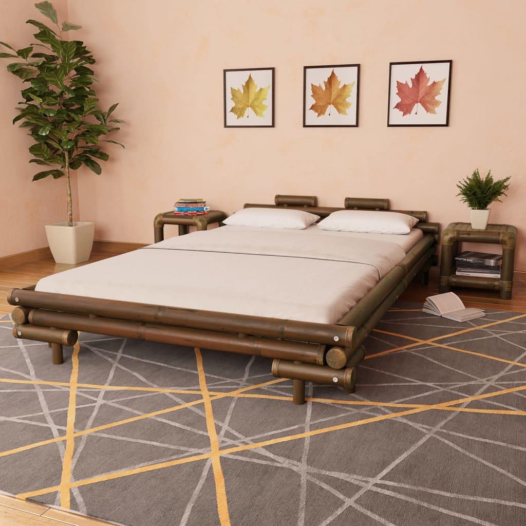 vidaXL Bambusová postel s 2 nočními stolky tmavě hnědá 140 x 200 cm