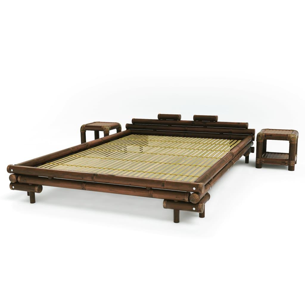 Afbeelding van vidaXL Bed met 2 nachtkastjes bamboe donkerbruin 160x200 cm