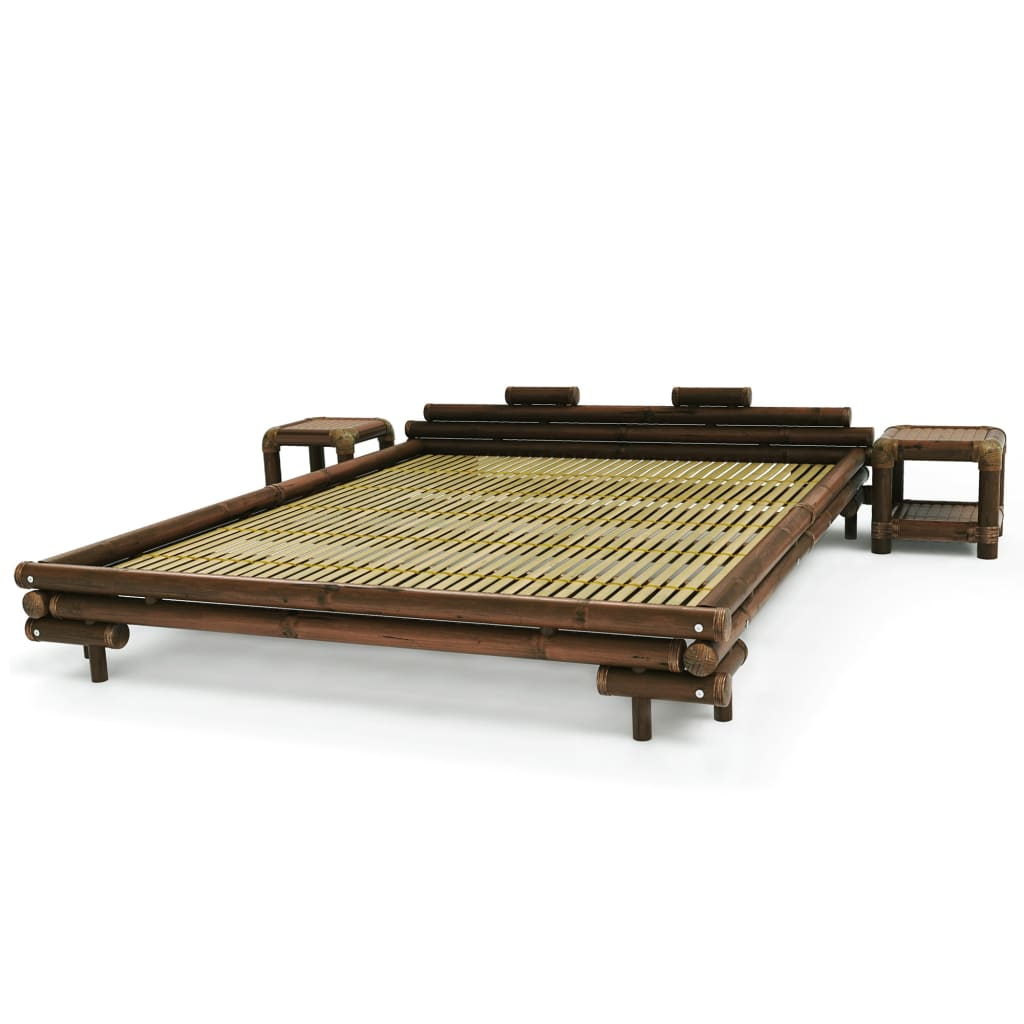 Afbeelding van vidaXL Bed met 2 nachtkastjes bamboe donkerbruin 180x200 cm