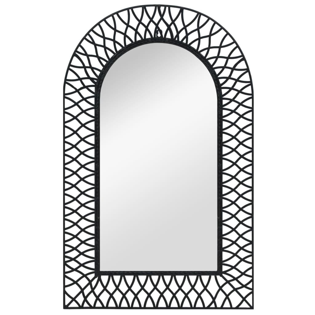 vidaXL Nástěnné zrcadlo obloukové 50 x 80 cm černé