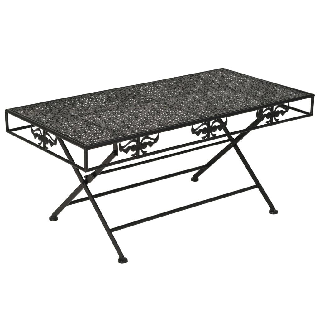 vidaXL Skládací konferenční stolek vintage kovový černý 100x50x45 cm