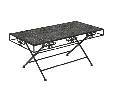 vidaXL Sulank. kavos staliukas, juodas, 100x50x45cm, met., vint. stil.[1/8]