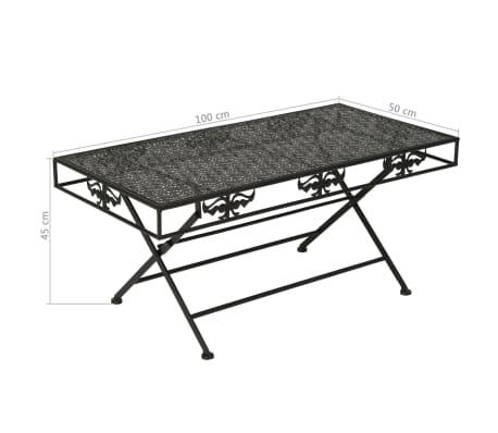 vidaXL Sulank. kavos staliukas, juodas, 100x50x45cm, met., vint. stil.[8/8]