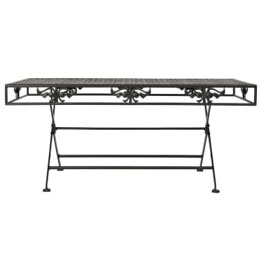 vidaXL Sulank. kavos staliukas, juodas, 100x50x45cm, met., vint. stil.[2/8]