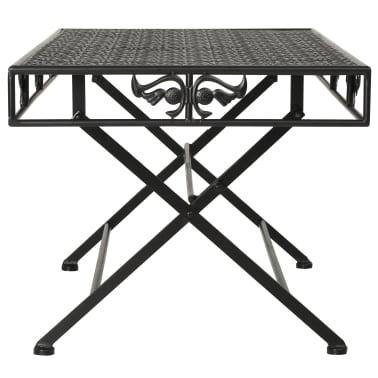 vidaXL Sulank. kavos staliukas, juodas, 100x50x45cm, met., vint. stil.[3/8]