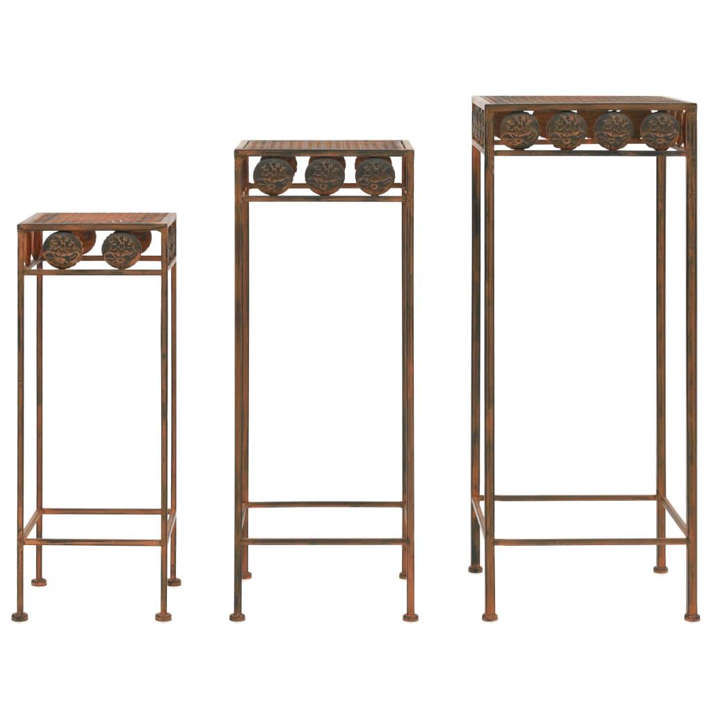 vidaXL Set suport plante, 3 buc., ruginiu, metal, stil vintage poza 2021 vidaXL