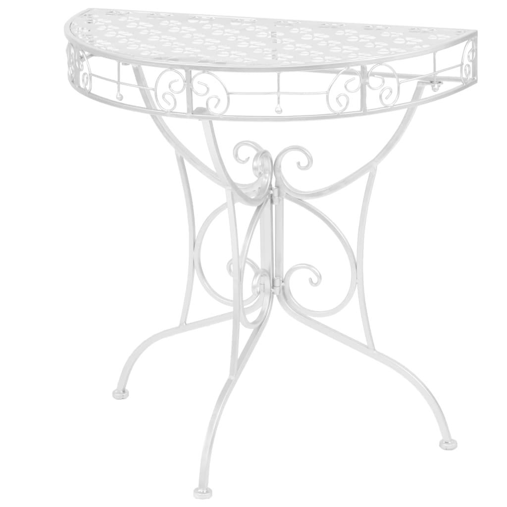 vidaXL Odkládací stolek vintage půlkruhový kovový 72x36x74 cm stříbrný