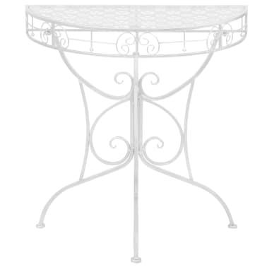 vidaXL Odkládací stolek vintage půlkruhový kovový 72x36x74 cm stříbrný[2/6]