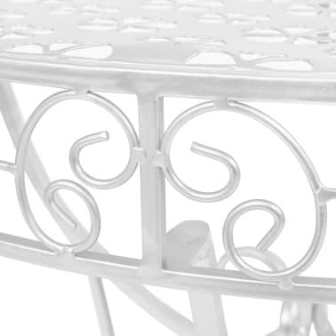 vidaXL Odkládací stolek vintage půlkruhový kovový 72x36x74 cm stříbrný[4/6]