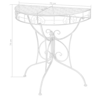 vidaXL Odkládací stolek vintage půlkruhový kovový 72x36x74 cm stříbrný[6/6]