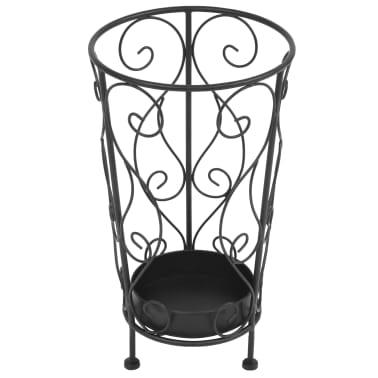 "vidaXL Umbrella Stand Vintage Style Metal 10.2""x18.1"" Black[2/6]"