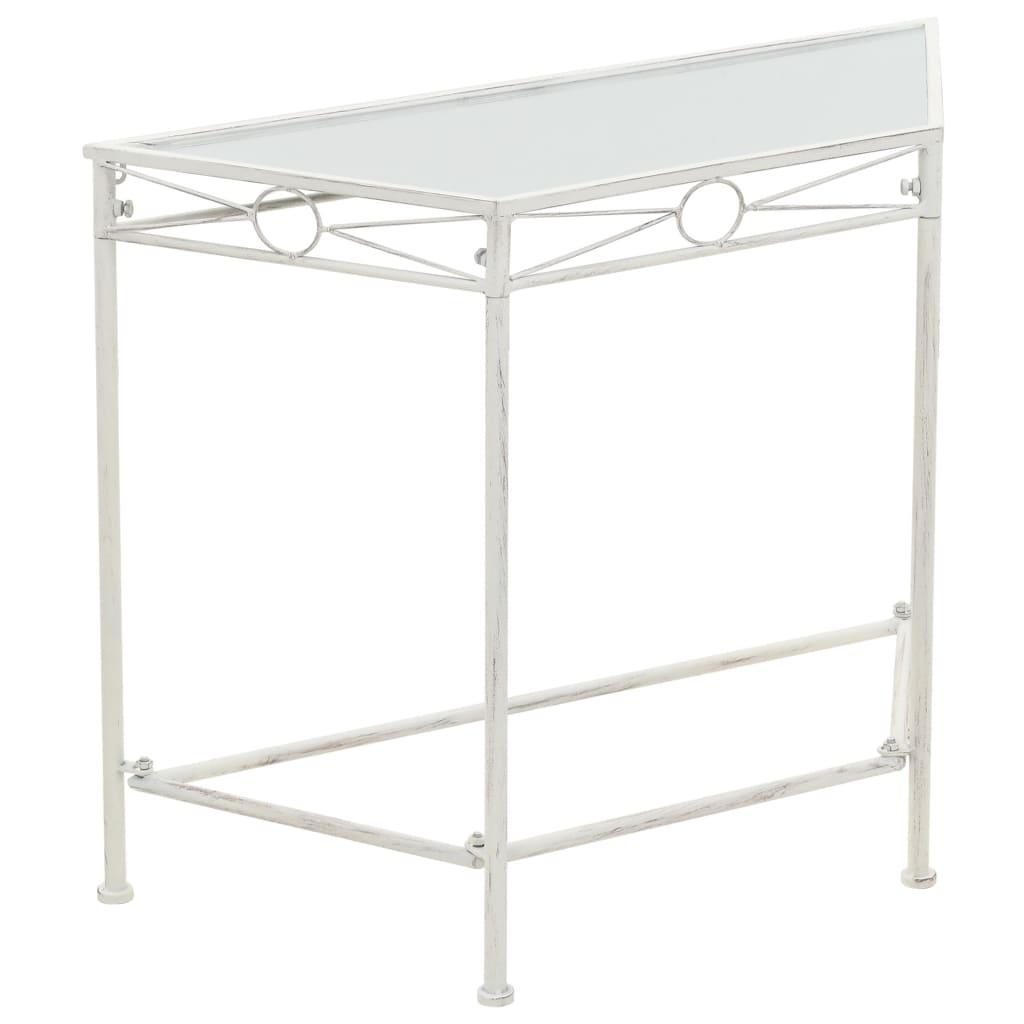 vidaXL Odkládací stolek ve vintage stylu kovový 87 x 34 x 73 cm bílý