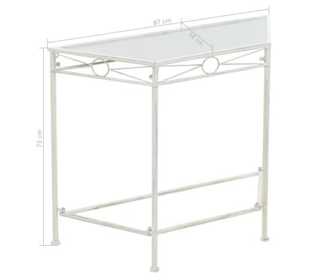 vidaXL Šoninis staliukas, baltos sp., 87x34x73cm, metalas, vint. stil.[6/6]