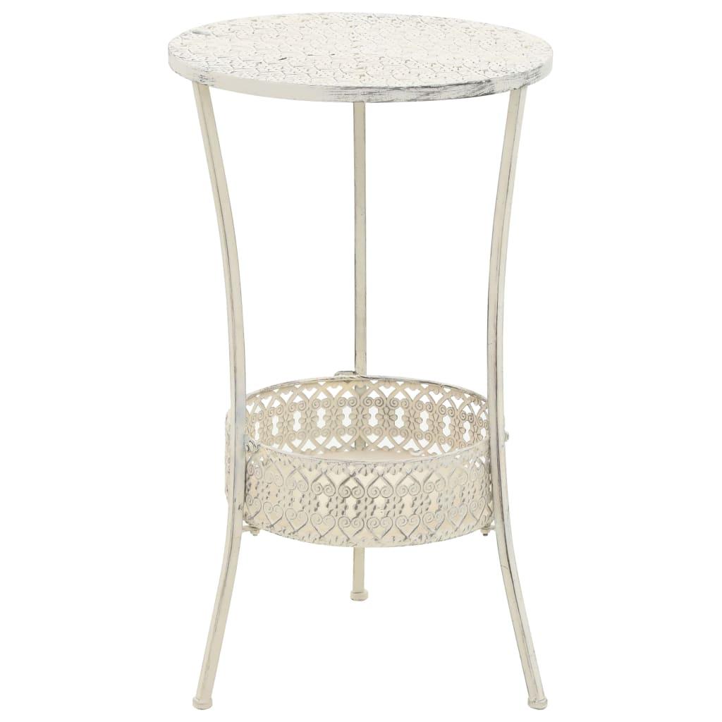 Bistro stolek ve vintage stylu kulatý kovový 40 x 70 cm bílý