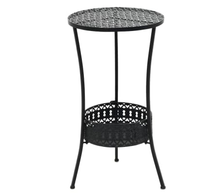 vidaXL Bistro Table Black 40x70 cm Metal