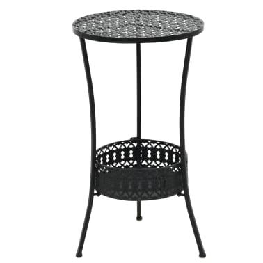 "vidaXL Bistro Table Black 15.7""x27.5"" Metal[1/6]"
