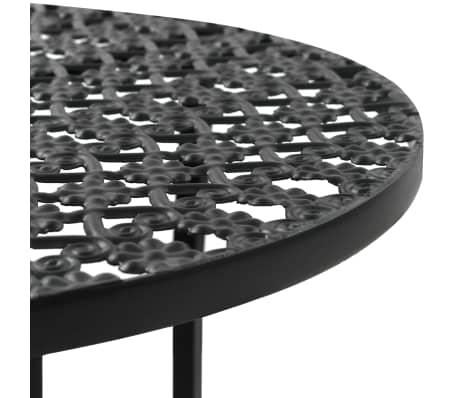 "vidaXL Bistro Table Black 15.7""x27.5"" Metal[3/6]"