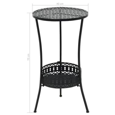 "vidaXL Bistro Table Black 15.7""x27.5"" Metal[6/6]"