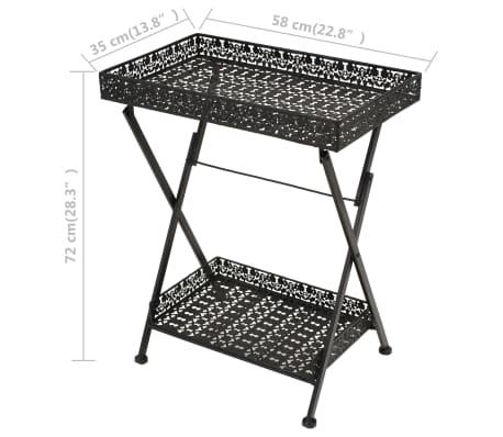 vidaXL Skladací čajový stolík čierny 58x35x72 cm kovový vintage štýl[9/9]
