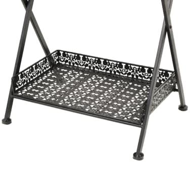 vidaXL Skladací čajový stolík čierny 58x35x72 cm kovový vintage štýl[8/9]