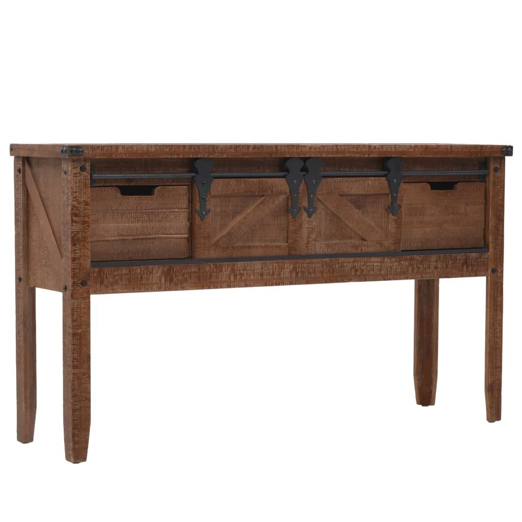 vidaXL Stolik konsola, lite drewno jodłowe, 131x35,5x75 cm, brązowy
