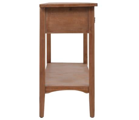 vidaXL Konsolinis staliukas, rudas, 126x40x77,5cm, eglės med. masyvas[3/10]