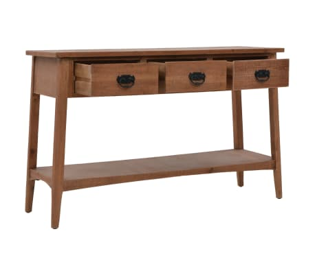 vidaXL Konsolinis staliukas, rudas, 126x40x77,5cm, eglės med. masyvas[5/10]