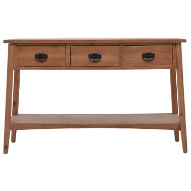 vidaXL Konsolinis staliukas, rudas, 126x40x77,5cm, eglės med. masyvas[2/10]
