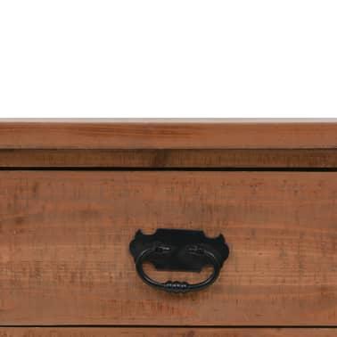 vidaXL Konsolinis staliukas, rudas, 126x40x77,5cm, eglės med. masyvas[7/10]