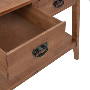 vidaXL Konsolinis staliukas, rudas, 126x40x77,5cm, eglės med. masyvas[8/10]